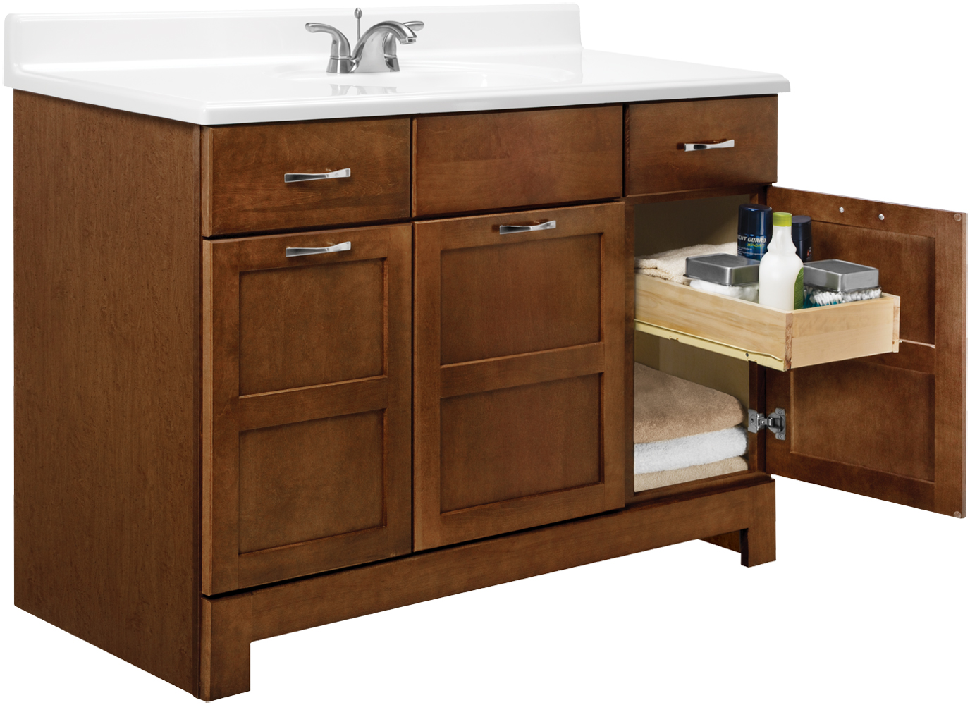 Casual Vanity: Cognac Finish: 48 Inch Detail