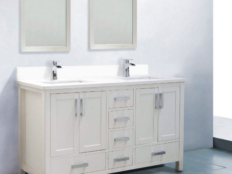 60 Inch Double Sink Bathroom Vanity White