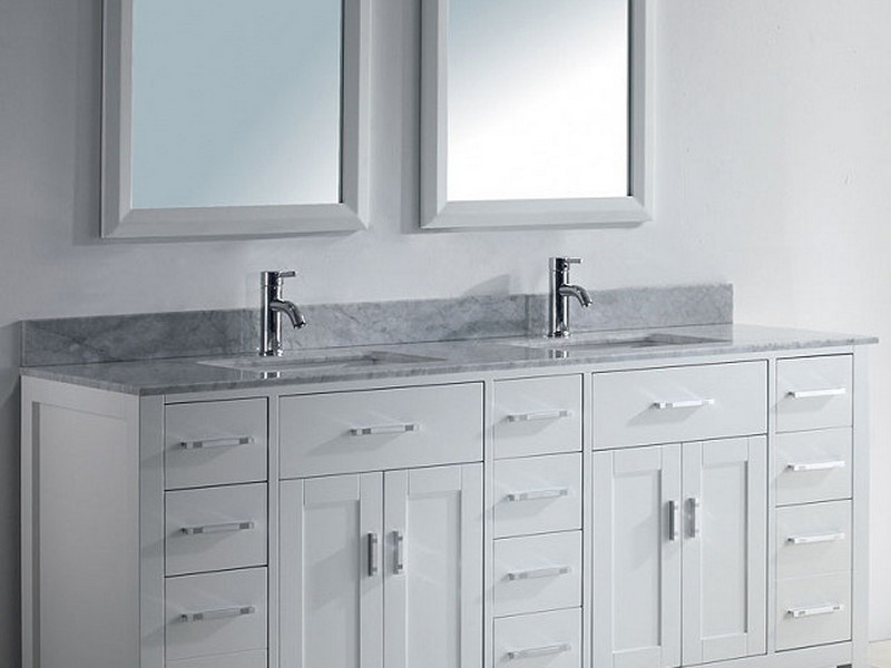 72 Bathroom Vanity Double Sink White