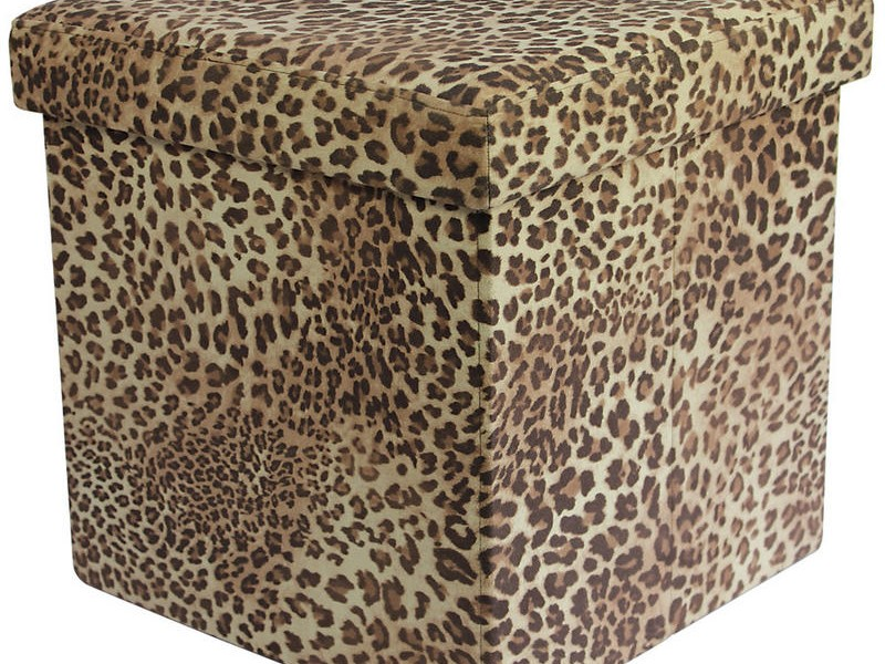 Animal Print Storage Ottoman
