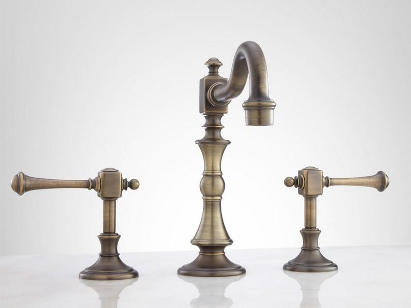 Antique Brass Widespread Bathroom Faucet