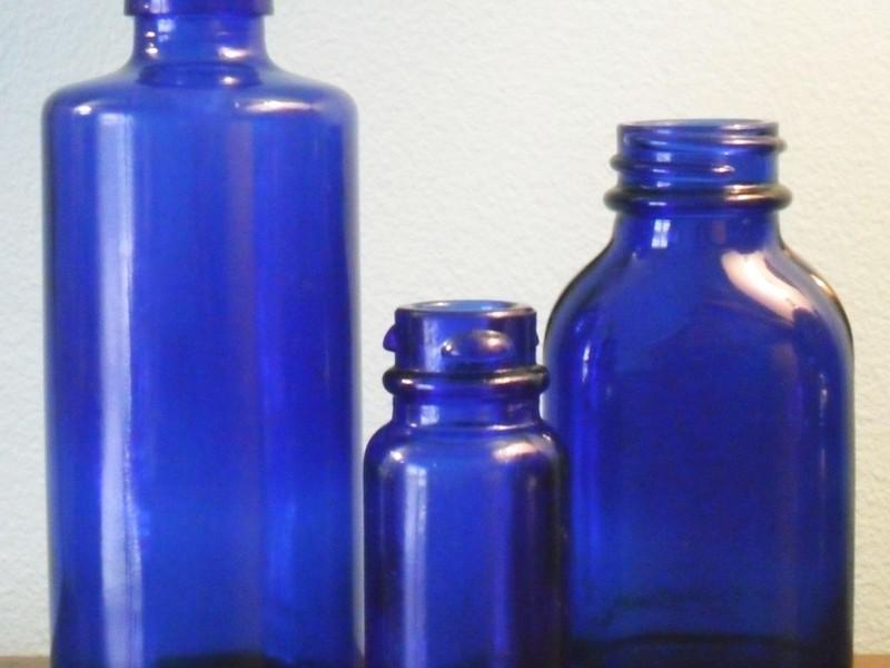 Antique Cobalt Blue Glass Bottles