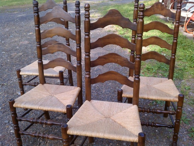 Antique Ladder Back Chairs With Woven Seats