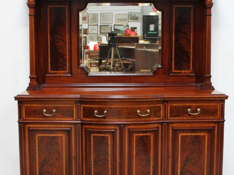 Antique Mahogany Sideboard With Mirror