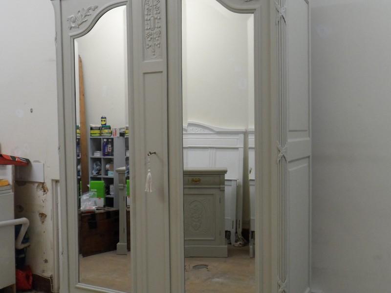 Antique Mirrored Wardrobe Armoire