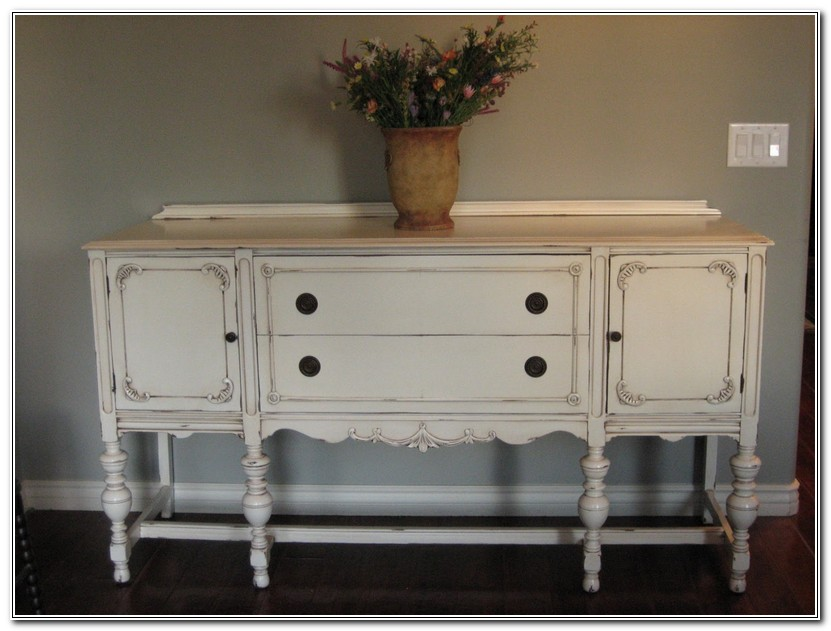Antique White Buffet Table
