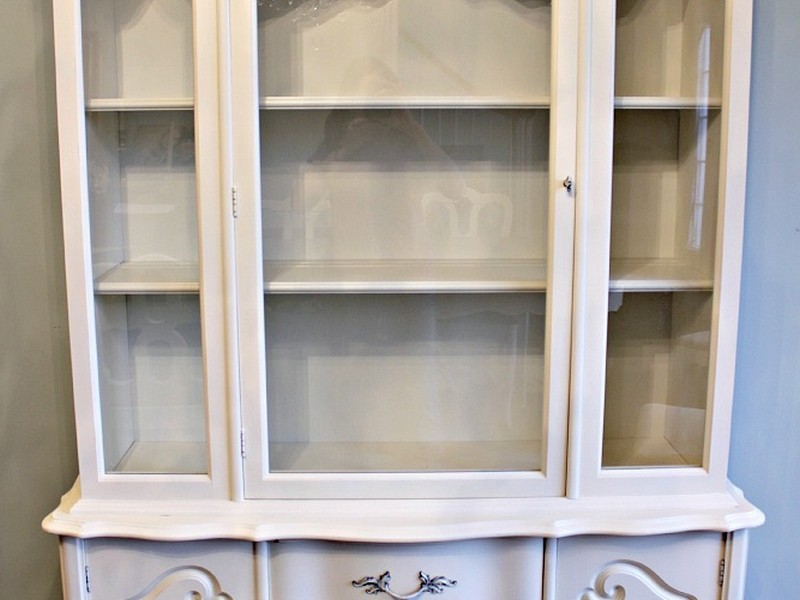 Antique White China Hutch