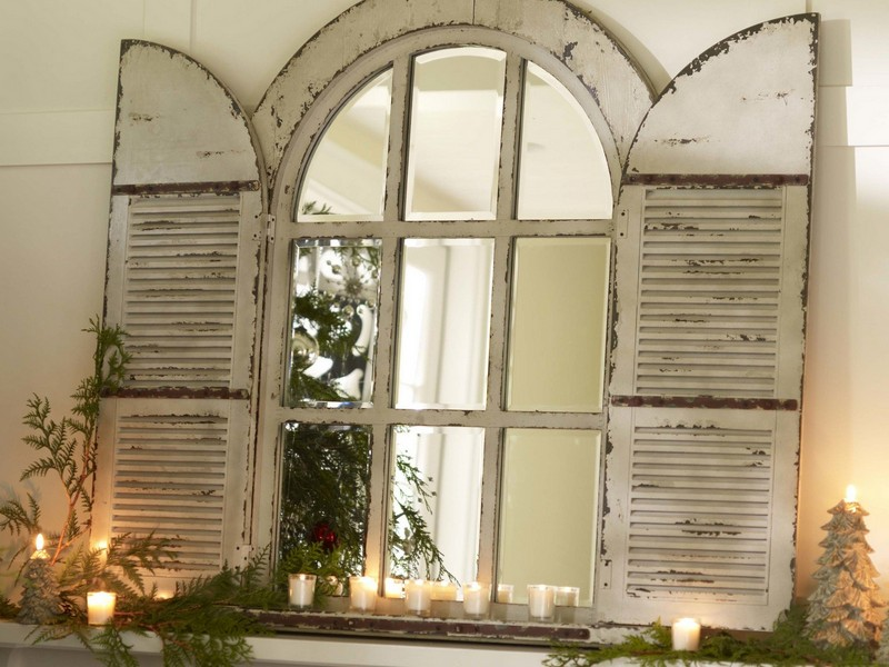 Arched Window Mirror With Shutters