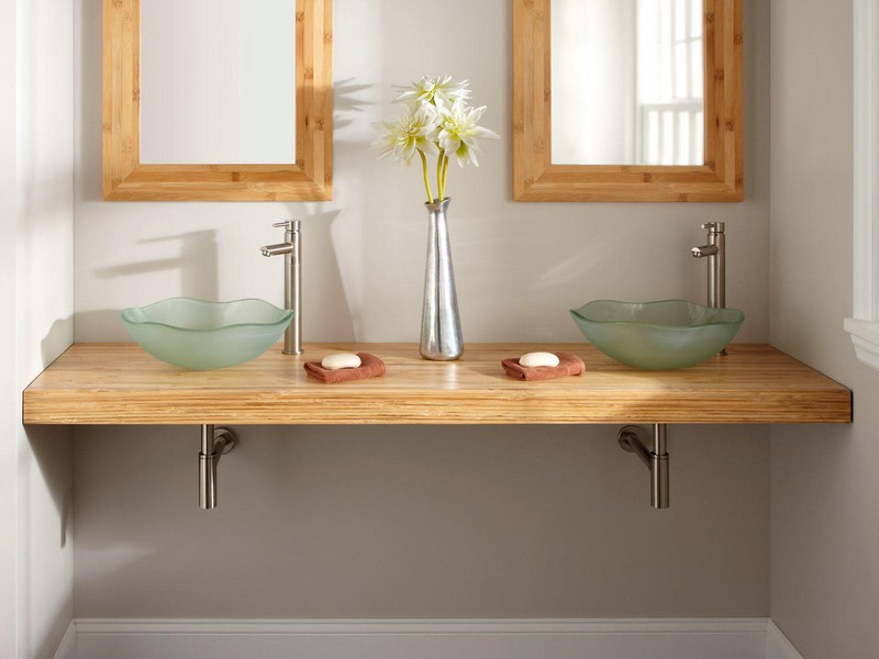 Bamboo Bathroom Vanity Double Sink