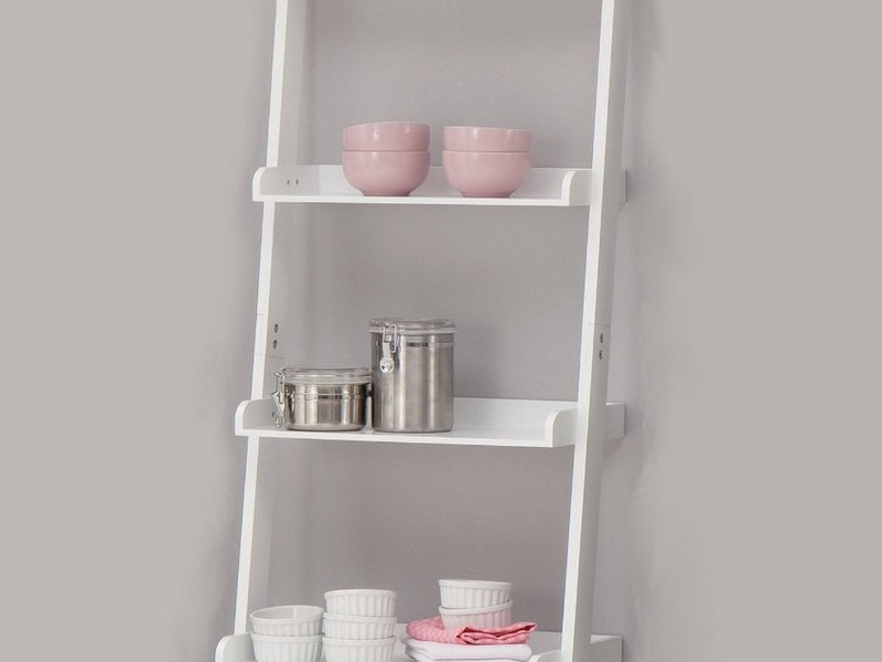 Bathroom Ladder Shelf White