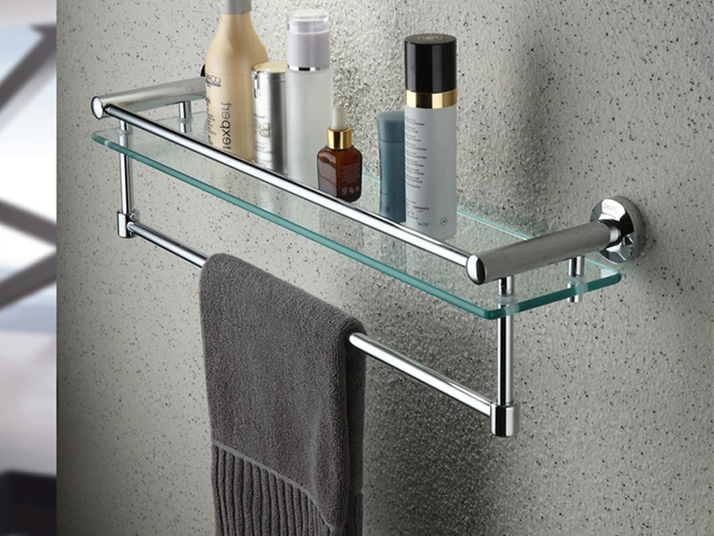 Bathroom Shelf With Towel Bar Brushed Nickel