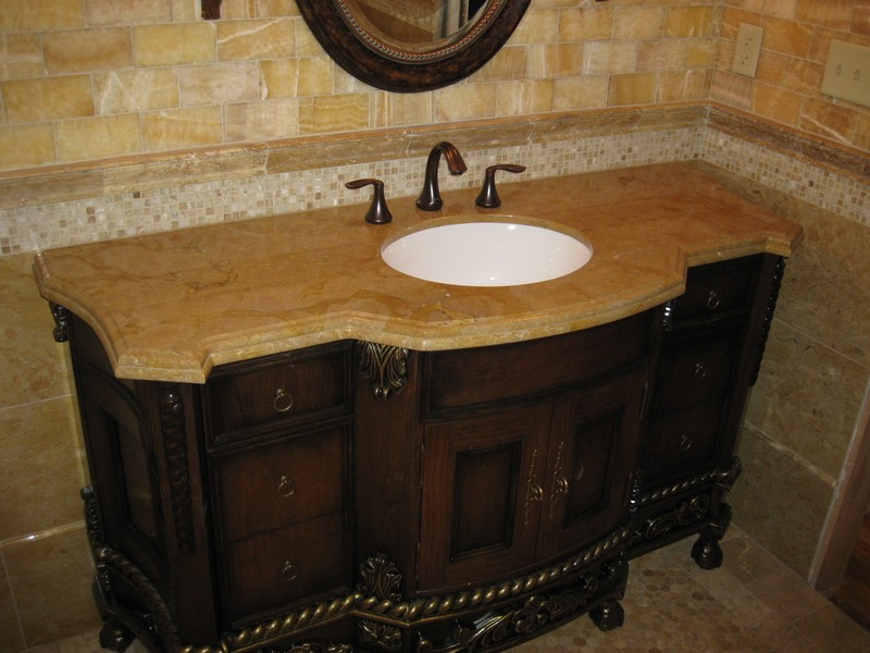Bathroom Vanity With Brown Marble Top
