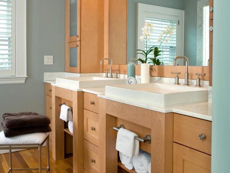 Bathroom Vanity With Towel Shelf