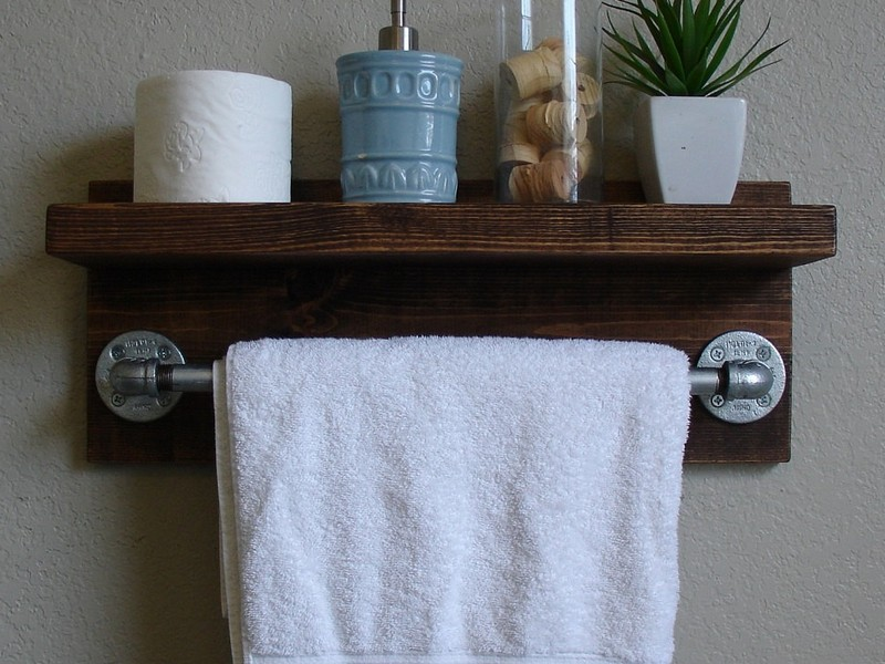 Bathroom Wall Shelf With Towel Bar