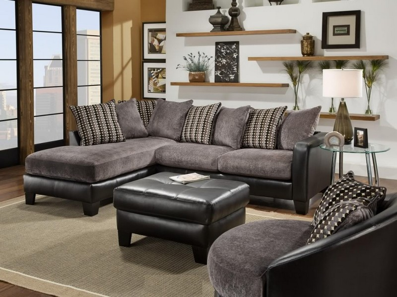 Black And Grey Microfiber Sectional