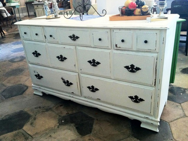 Black And White Distressed Dresser