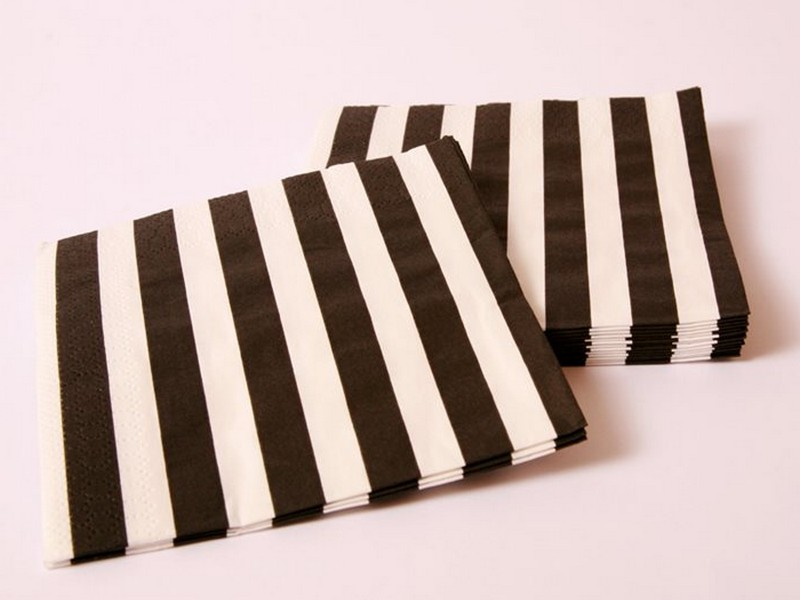 Black And White Striped Napkins