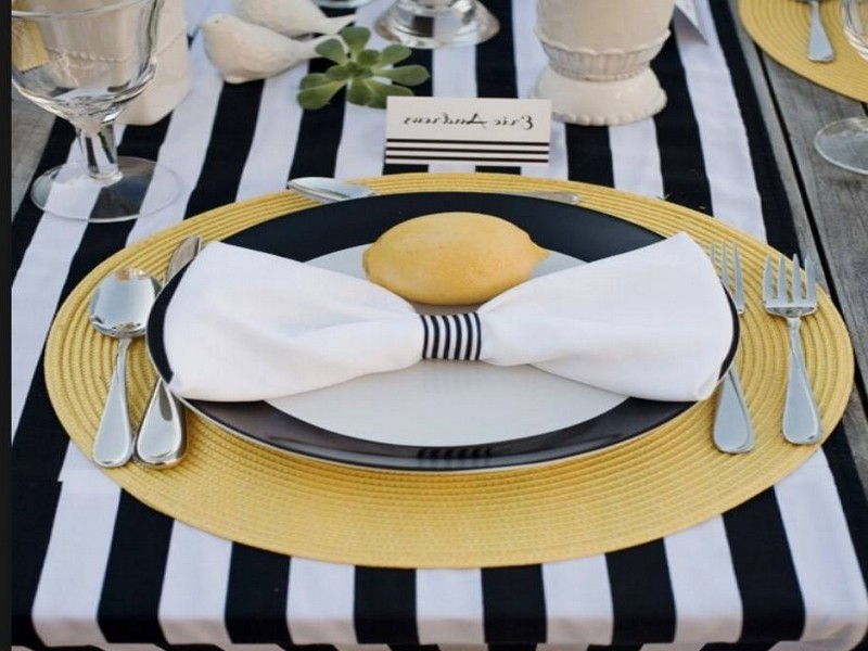 Black And White Striped Table Runners