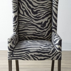 Black And White Striped Wingback Chairs