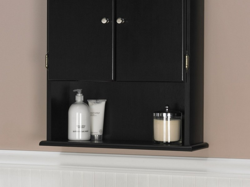 Black Bathroom Wall Cabinet With Towel Bar