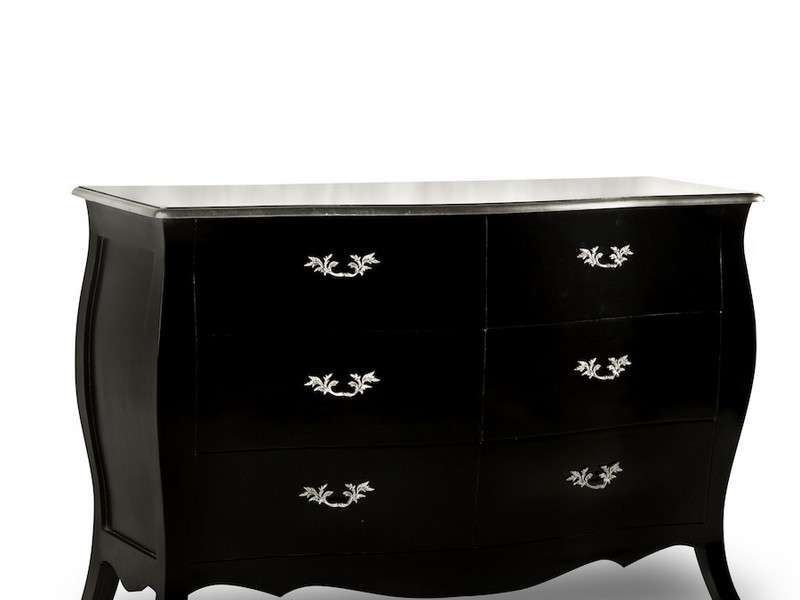 Black Bombe Chest Of Drawers