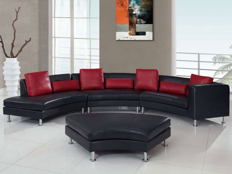 Black Couch Red Pillows