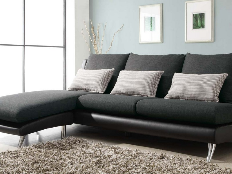 Black Fabric Sectional Sofa With Chaise