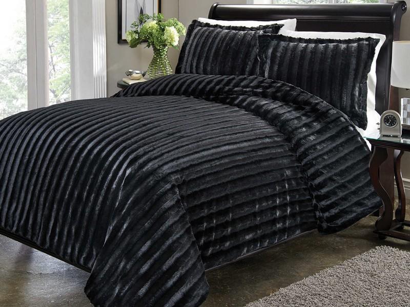 Black Faux Fur Duvet Cover
