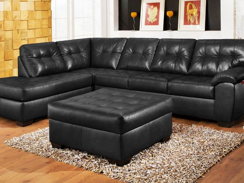 Black Leather Couch Sectional