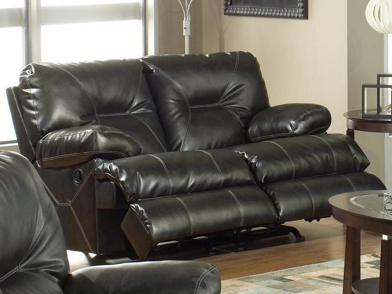 Black Leather Reclining Sofa With Cup Holders