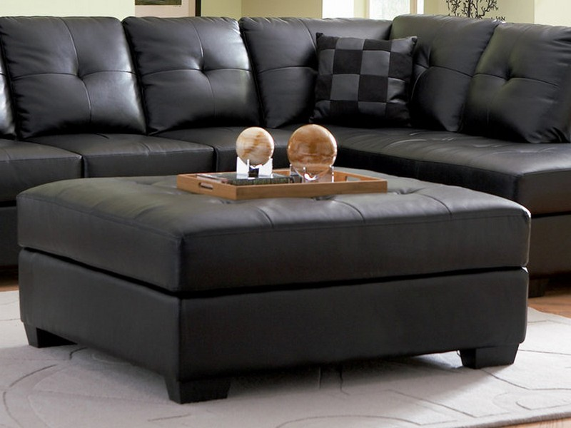 Black Leather Sectional With Ottoman