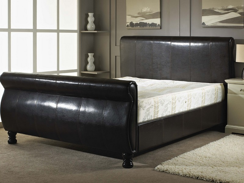 Black Leather Sleigh Bed King Size