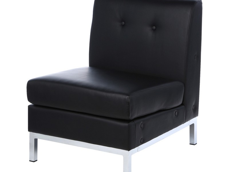 Black Leather Slipper Chair
