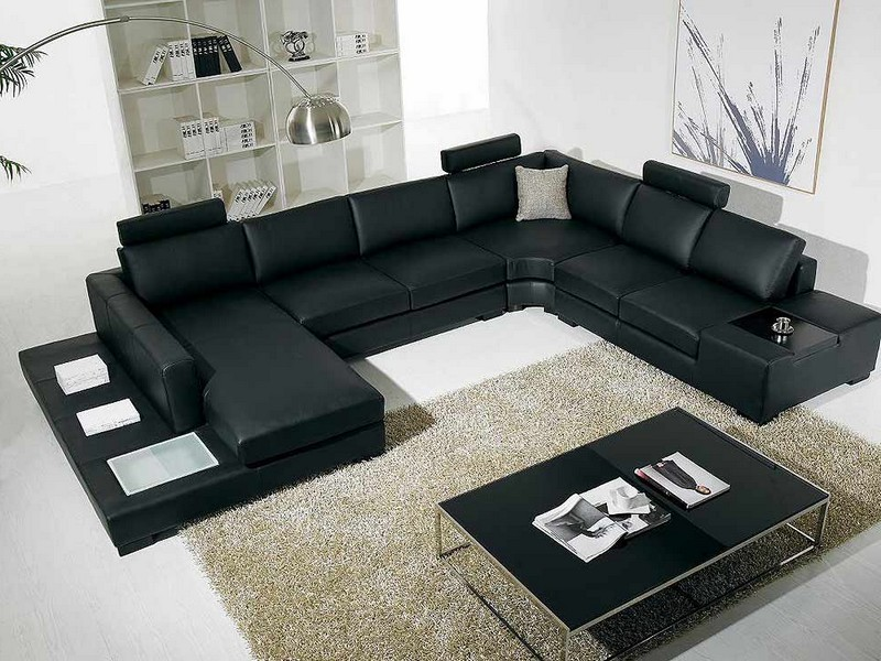 Black Leather Sofa Sectional