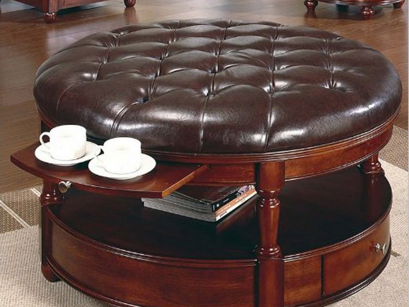 Black Leather Tufted Ottoman Coffee Table
