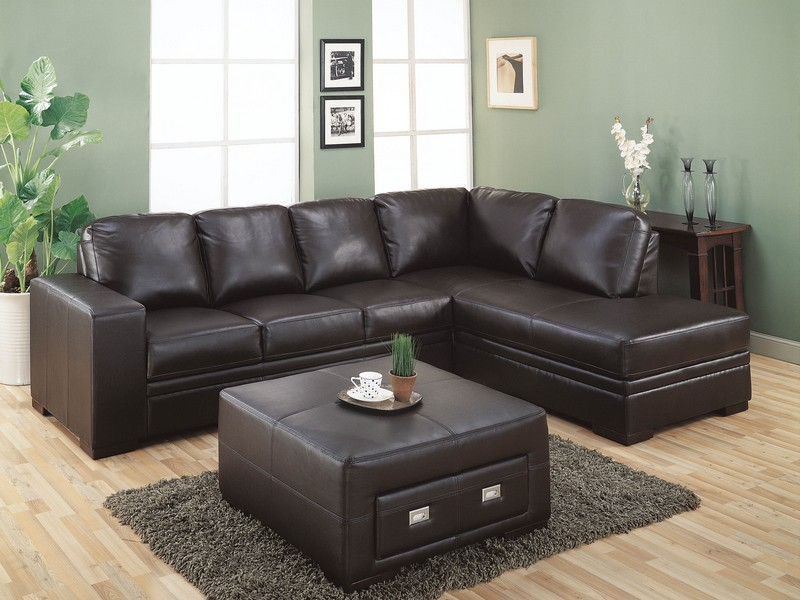 Black Microfiber Sectional Couch