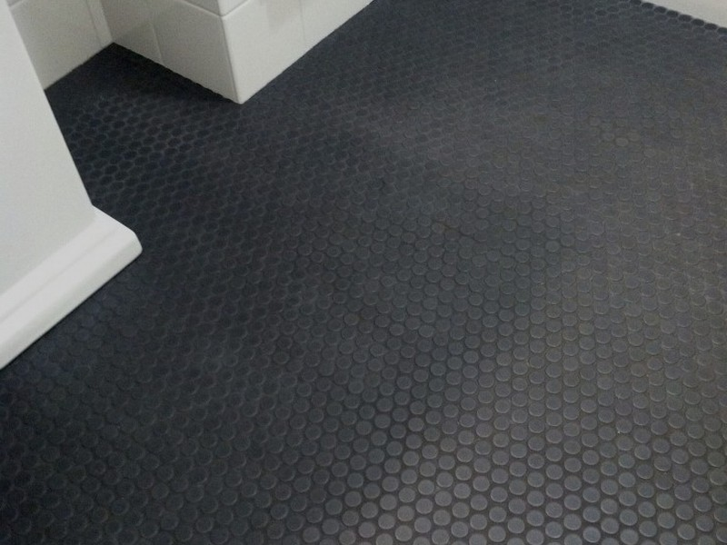 Black Penny Tile Bathroom Floor