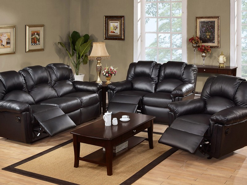 Black Reclining Sofa Set