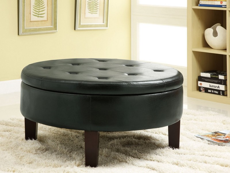 Black Round Ottoman Coffee Table
