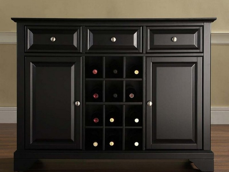 Black Sideboard With Wine Rack