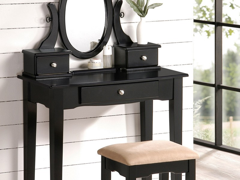 Black Vanity Table With Drawers