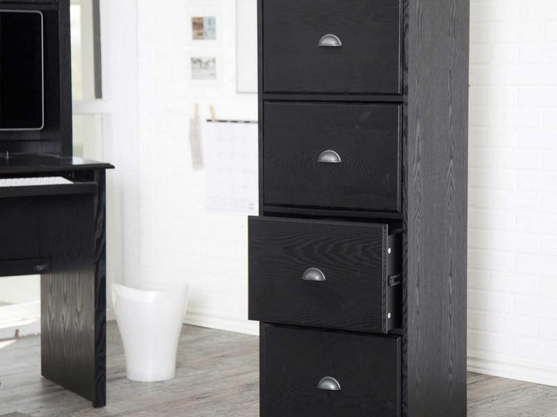 Black Wood Filing Cabinet