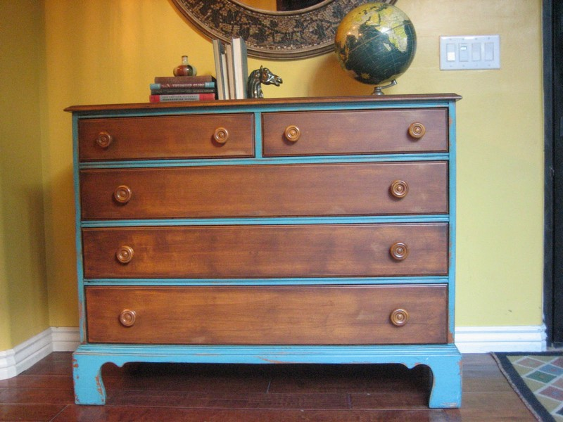 Blue And Brown Distressed Furniture