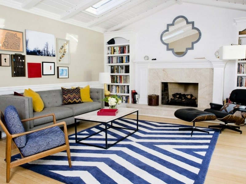 Blue And White Striped Area Rugs