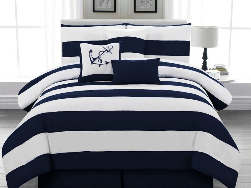 Blue And White Striped Bedding Sets