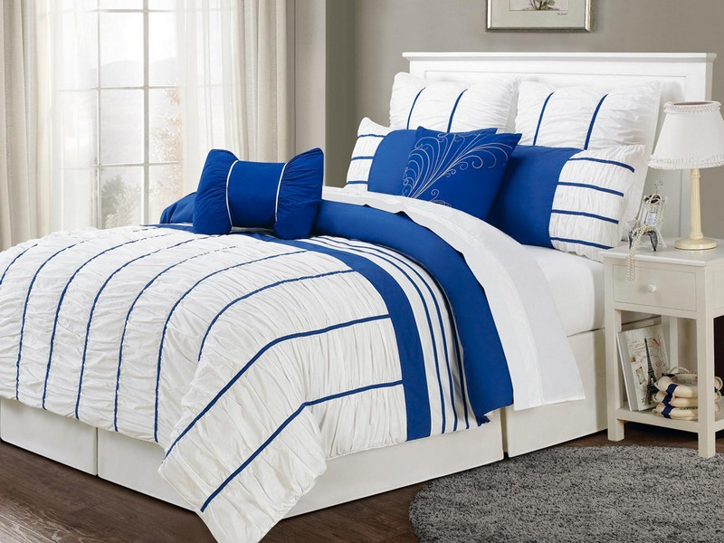 Blue And White Striped Sheets King