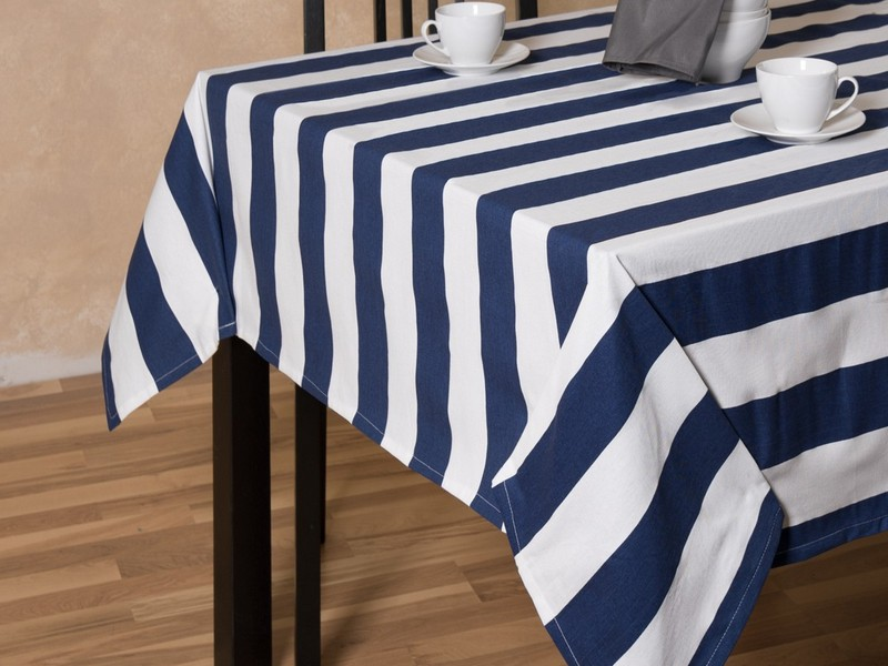 Blue And White Striped Tablecloth Plastic