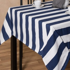 Blue And White Striped Tablecloth Round