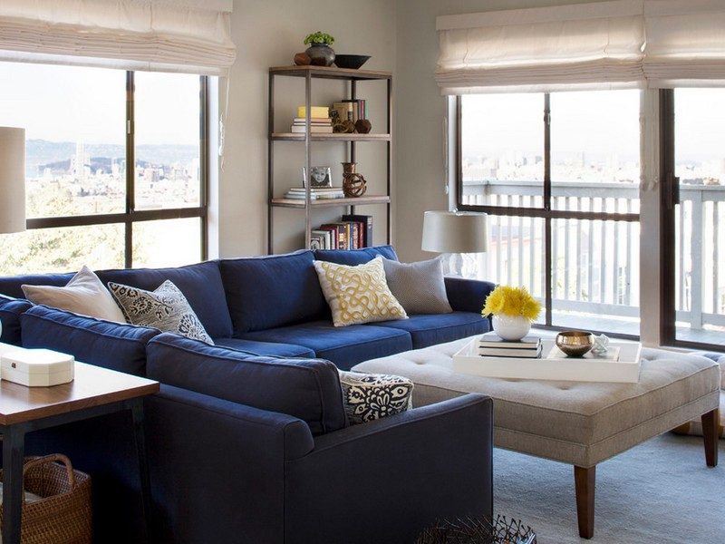 Blue Denim Sectional Sofa