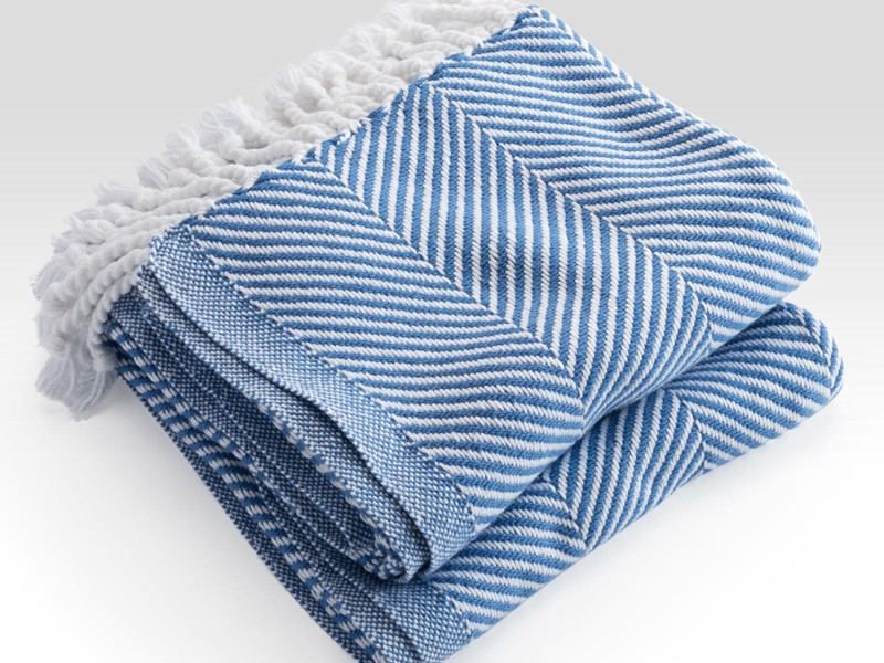 Blue Herringbone Throw Blanket